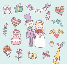 17款卡通婚礼元素矢量素材