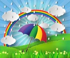 雨季雨伞与彩虹剪贴画矢量素材