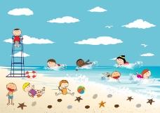 海边玩耍的孩子们矢量素材.