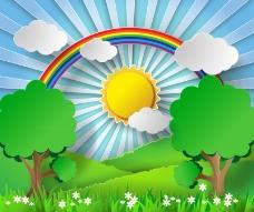 山间的彩虹风景剪贴画矢量素材