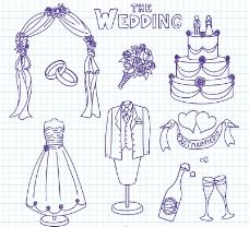 9款手绘婚礼元素矢量素材.