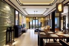 中式客厅效果图模型