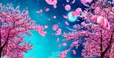 花瓣飘落舞蹈节目背景