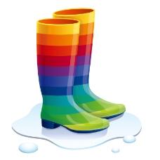 卡通彩虹雨靴矢量素材
