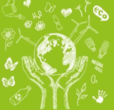 清新手绘绿色生态背景矢量素材