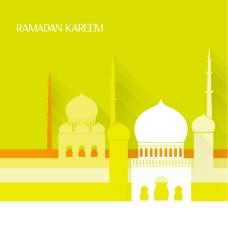 精美伊斯兰清真寺背景矢量素材