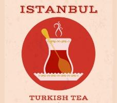卡通土耳其茶背景矢量素材