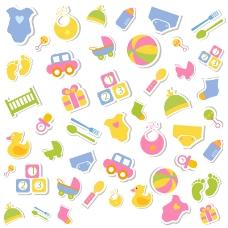 儿童玩具贴纸背景矢量素材