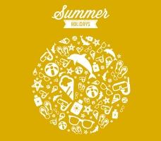 夏日度假元素背景矢量素材
