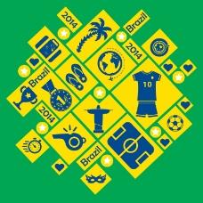 方形巴西世界杯图标背景矢量素材