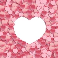 粉色纸片爱心背景