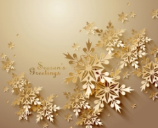 金色雪花 祝福卡  金色 雪花图片