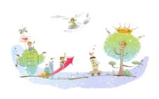 树木云朵插画