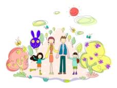 树木抽象兔子