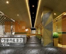 酒店室内布局3D模型素材