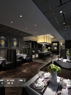 室内茶馆场景3D模型素材