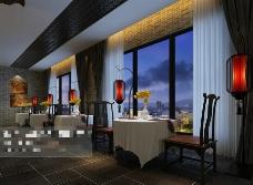 酒店茶馆空间场景3D模型素材