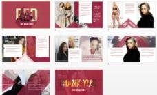 杂志风大气简洁红色PPT模板