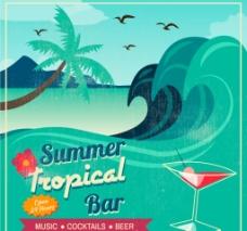 夏日沙滩海报图片