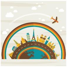 旅游背景扁平化设计