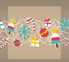 复古圣诞节剪纸背景矢量素材