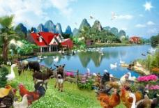 田园乡村风景 风景画图片