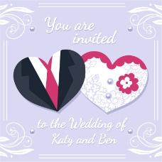 爱心剪纸婚礼邀请卡