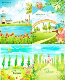 卡通乡村童话风景素材图片