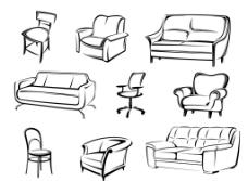 线描手绘沙发图图片
