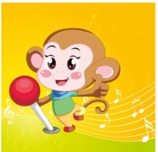 卡通音乐猴子图片