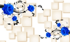 3D蓝色玫瑰花背景