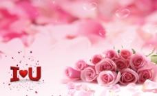 ILOVEYOU粉红色玫瑰花图片
