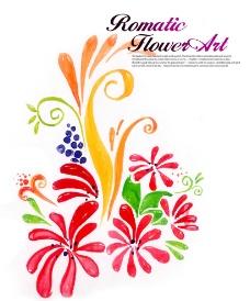 花朵烟花插画水墨画图片