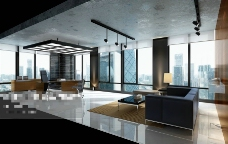 办公场景空间3D模型素材