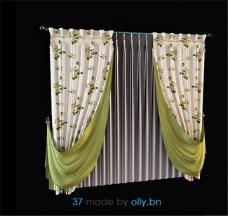 窗帘花纹3D模型素材