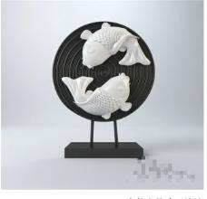 双鱼装饰3D模型素材