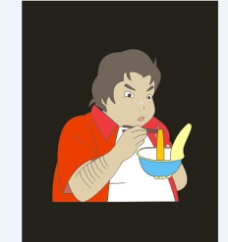 正在吃面的男孩图片