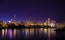 芝加哥城市夜景圖片
