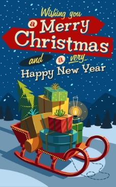 童趣圣诞雪橇礼物矢量素材