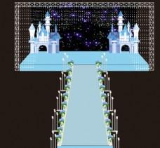 蓝色城堡婚礼舞台图片