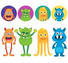 8款卡通怪物与头像设计矢量素材