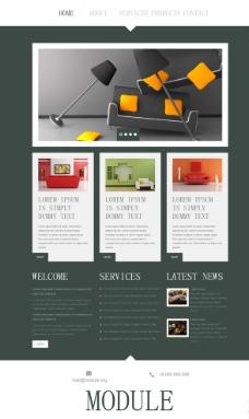 室内设计扁平网站模板图片