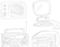 手绘收音机 电脑图片