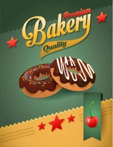 巧克力甜甜圈背景矢量素材