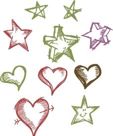 手繪星星 心形素材圖片
