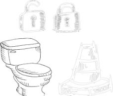 手繪馬桶 鎖具圖片