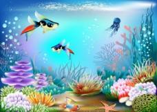 绚丽的海底世界矢量图图片