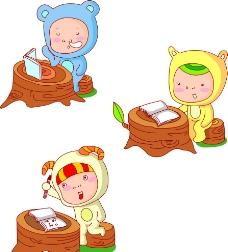 学习的动物版小孩子图片