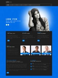 藍色黑色搭配商務模板圖片