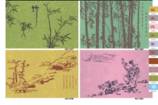 硅藻泥竹子花紋背景